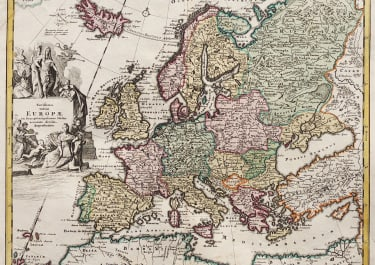 WEIGEL MAP OF EUROPE  ORIGINAL COLOUR