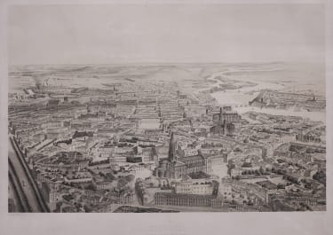 SUPERB RARE VIEW FROM THE AIR OF TOULOUSE 1870