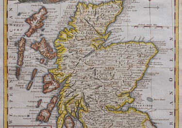 DECORATIVE MAP OF SCOTLAND BY KITCHEN 1780