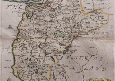 RICHARD BLOME MAP OF CUMBERLAND  LAKE DISTRICT  KESWICK.. 1673