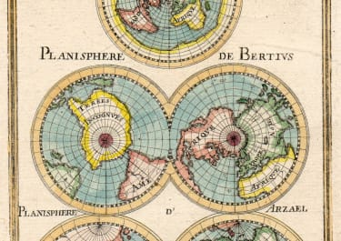 MALLET MAP OF PROJECTIONS OF GLOBE  1683
