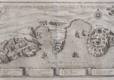 RARE MONACO AND VILLEFRANCHE BIRDS EYE VIEW  1638