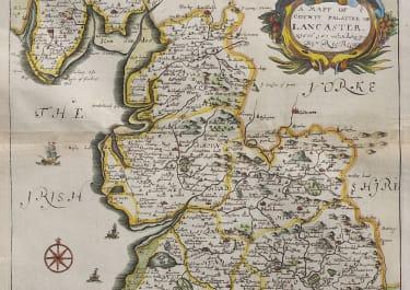 RICHARD BLOME MAP OF LANCASHIRE  LANCASTER 1673
