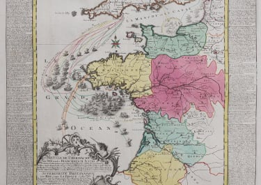 BRITISH NAVAL SUPERIORITY DURING SEVEN YEARS WAR   RARE MAP OF BLOCKADES 1759