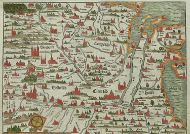 RARE EARLY MUNSTER  MAP BRABANT HOLLAND  1545