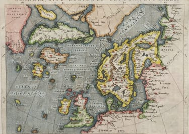 MAGINI'S MAP OF THE NORTH ATLANTIC   SCARCE KESCHEDT EDITION   1597