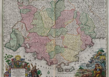 STUNNING SEUTTER MAP OF PROVENCE  FRANCE