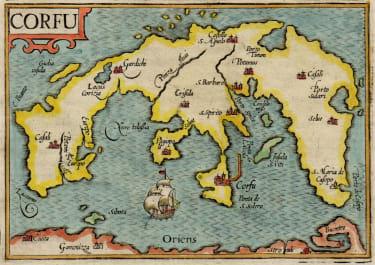 LANGENES BARENT   RARE MAP OF CORFU  1599
