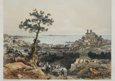 SCARCE TINTED LITHOGRAPH OF CANNES  1870