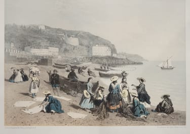 SCARCE LITHOGRAPH OF FISHER WOMEN AT NICE  RIVIERA  1860