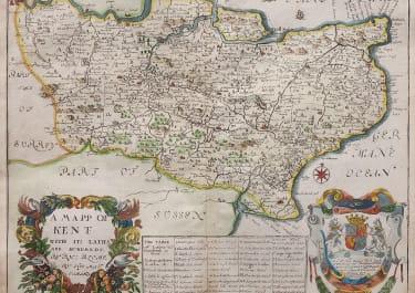 BLOME'S RARE DECORATIVE MAP OF KENT 1673