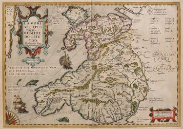 SUPERB ORIGINAL COLOUR  HONDIUS FOLIO MAP OF WALES 1613