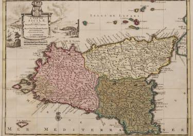 SCARCE COVENS & MORTIER MAP OF SICILY  ORIGINAL COLOUR