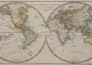 THE WORLD IN HEMISPHERES  BONNE 1780