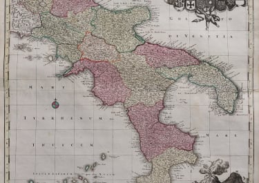 SEUTTER FOILIO MAP OF NAPLES AND SOUTHERN ITALY