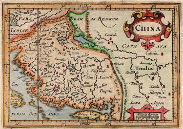 RARE MAP OF CHINA  BERTIUS  HONDIUS  1618