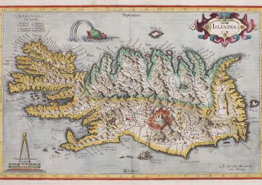 MERCATOR'S SUPERB FOLIO MAP OF ICELAND   HONDIUS 1613