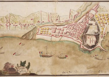 UNIQUE ORIGINAL COLOUR MANUSCRIPT MAP OF THE FRENCH ATTACKING NICE IN 1797