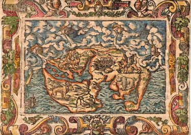 BIBLE WORLD MAP DANIELS DREAM SIGMUND FEYERABEND 1564