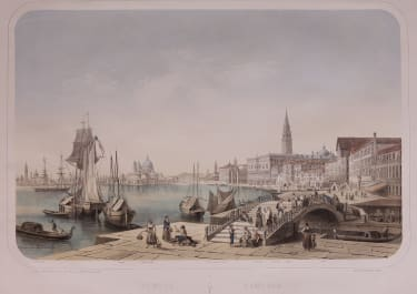 SUPERB VERY LARGE RARE LITHOGRAPH OF VENICE BY L.TURGIS, DEROY, CHAPUY