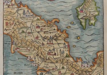MUNSTER  RARE MAP OF NORTHERN ITALY  CORSICA 1550