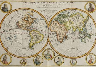 DE FER'S WORLD MAP WITH VIGNETTES OF FAMOUS NAVIGATORS 1717