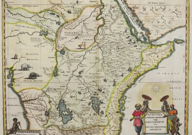MERIAN AFTER BLEAU MAP OF EAST AFRICA 1640  SOURCE OF NILE