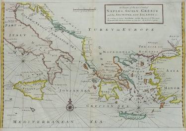 MOLL SCARCE SEA CHART OF EASTERN MEDITERRANEAN