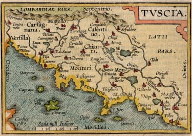 ORTELIUS MAP OF TUSCANY TUSCIA FROM THE EPITOME
