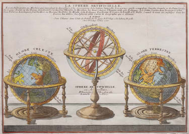 ATTRACTIVE ENGRAVING OF PAIR OF TERRESTIAL AND CELESTIAL GLOBES AND ARMILLARY SPHERE 1717