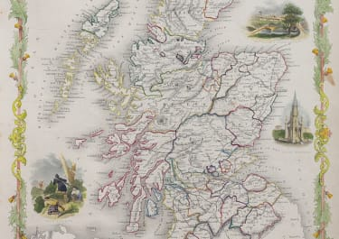 SCOTLAND   TALLIS DECORATIVE MAP DRAWN ENGRAVED RAPKIN