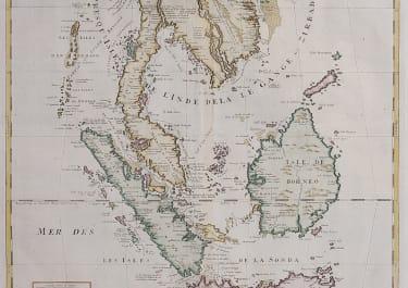 SCARCE ATTRACTIVE DETAILED MAP OF MALAYSIA SIAM BORNEO SUMATRA JAVA 1720