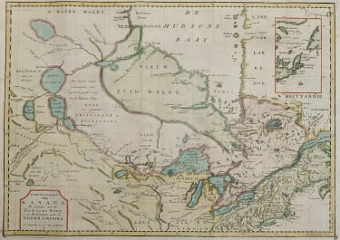 RARE MAP OF EASTERN CANADA  HUDSON'S BAY UNMAPPED  TERRITORY  TIRION 1769