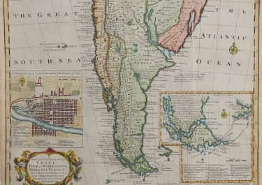 BOWEN'S SCARCE MAP OF CHILE ARGENTINA AND PLAN OF SANTIAGO
