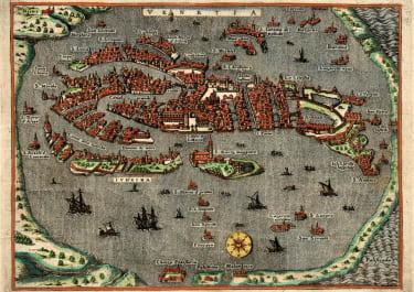 PORCACCHI BIRDS EYE VIEW OF VENICE  VENISE  1576