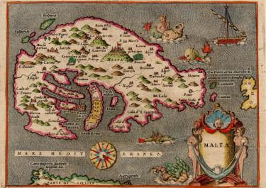 PORCACCHI'S SCARCE MAP OF MALTA 1576