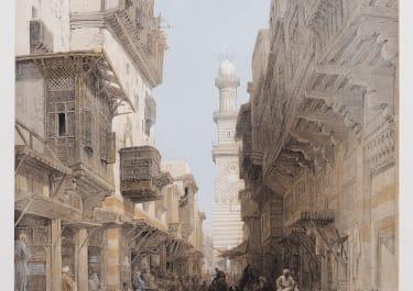 DAVID ROBERTS SUPERB ORIGINAL FOLIO LITHOGRAPH OF CAIRO STREET SCENE