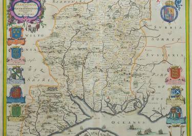BLAEU'S SUPERB MAP OF HAMPSHIRE   1645