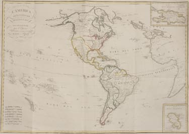SCARCE ITALIAN  MAP OF THE AMERICAS  BORDIGA   FERRARIO    1820