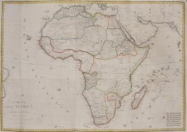 SCARCE LARGE FOLIO  ITALIAN MAP OF AFRICA BORDIGA   . FERRARIO 1820