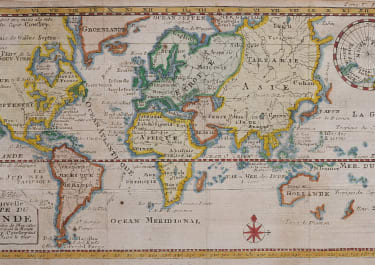 RARE WORLD MAP BY DAMPIER  ROUTE CAPT COWLEY  1723