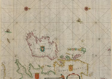 DONCKER'S SUPERB SEA CHART OF IRELAND AND WEST OF BRITISH ISLES 1665