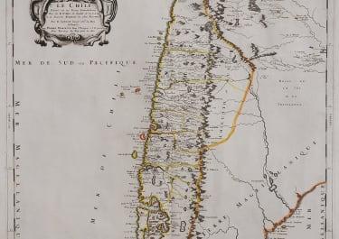 SANSON MARIETE SCARCE MAP OF CHILE 1669