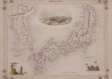 TALLIS MAP OF JAPAN AND KOREA