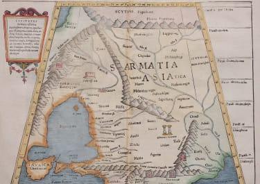 MUNSTER'S FOLIO PTOLOMAIC MAP OF UKRAINE, REGION BETWEEN BLACK & CASPIAN SEAS
