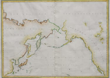 LARGE CHART OF LA PEROUSE'S VOYAGE ROUND THE NORTH PACIFIC 1797