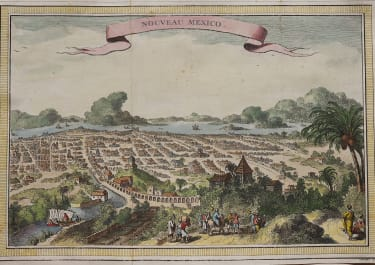 MEXICO CITY ENGRAVED BY CHEDEL BELLIN