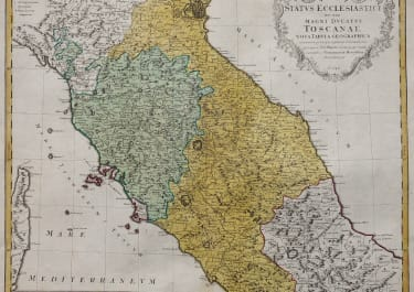 HOMANN MAP OF TUSCANY  CENTRAL ITALY ORIGINAL COLOUR 1748