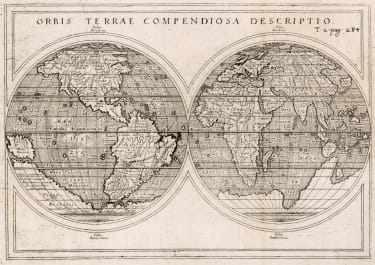 ROSACCIO'S EARLY WORLD MAP 1598 BUT  1713