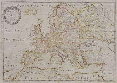 SANSON GOOD FOLIO MAP OF EUROPE ISSUED BY PIERRE MARIETTE   c1660